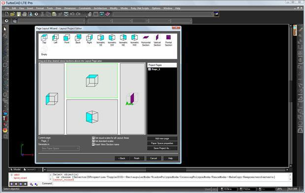 TurboCAD LTE Pro - Seiteneinrichtungs-Assistent