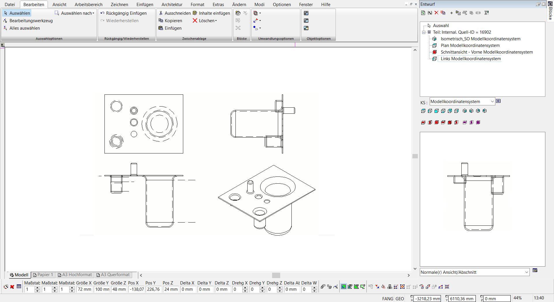 TurboCAD Pro Platinum - Entwurfspalette
