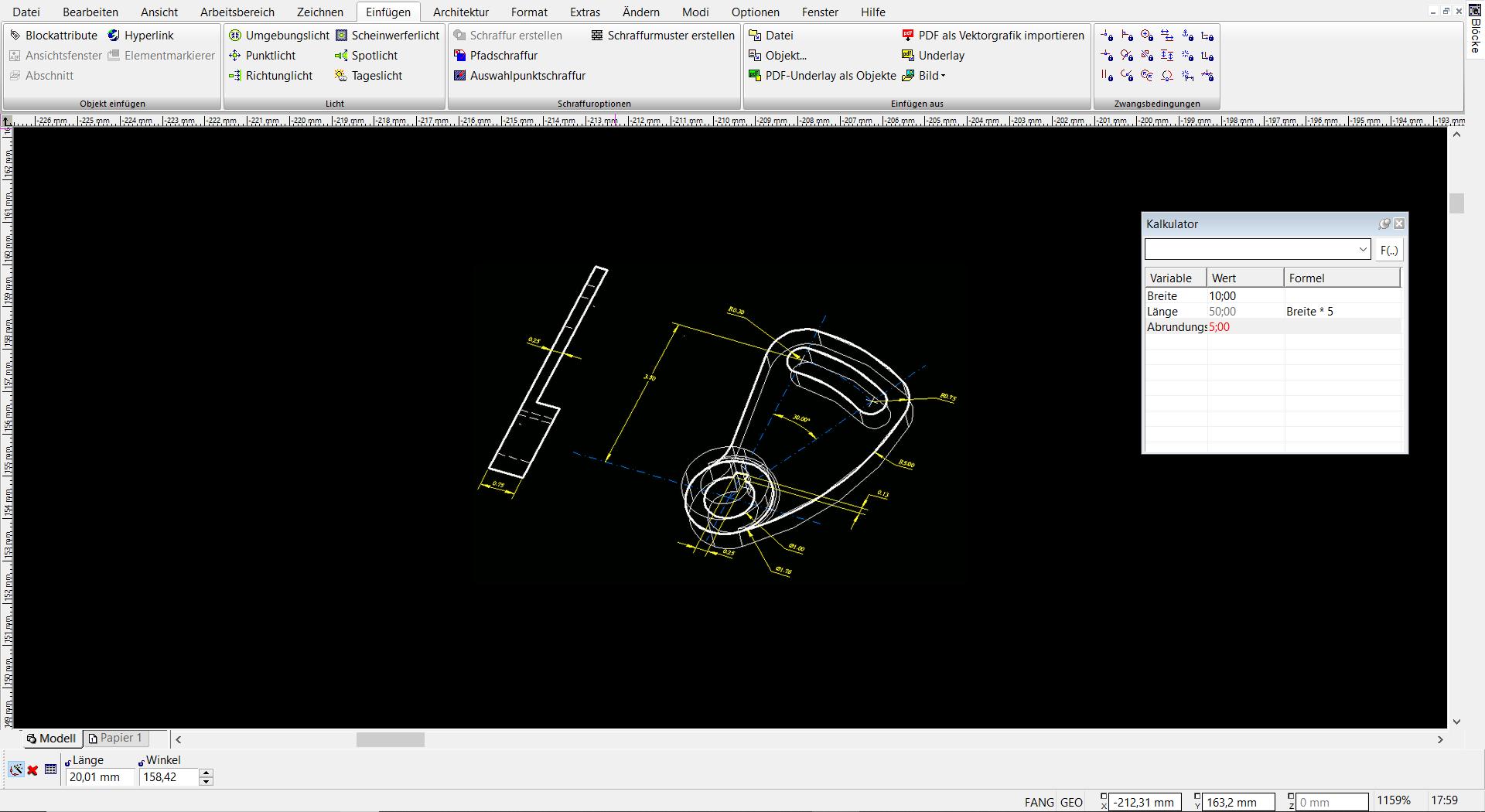 TurboCAD Pro Platinum - geometrische Zwangsbedingungen
