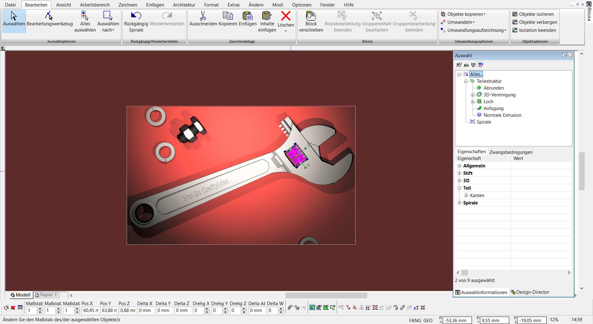 TurboCAD Pro Platinum - Teilestruktur