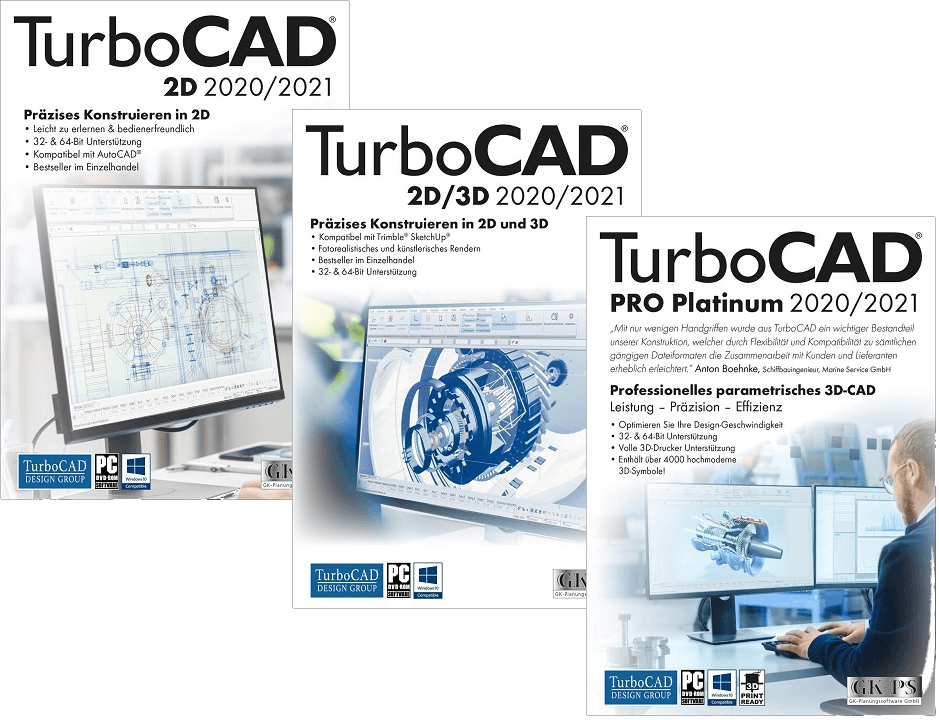 TurboCAD 2020 Versionen